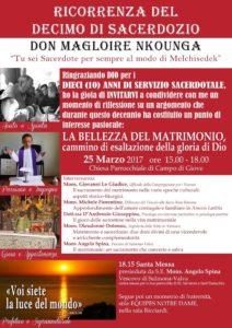 Decimo anniversario di sacerdozio di don Magloire, programma della giornata